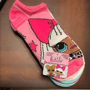 L.O.L Surprise! Girls L No Show Socks, 6 Pack